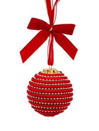 Red christmas ball hanging isolated on a  white background, christmas time Stock Photo - 8249739