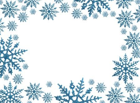 Sneeuwvlok grens met witte achtergrond, winter tijd Stockfoto