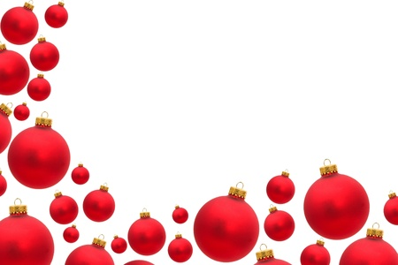 copy space: Red christmas balls making a border with white background, christmas border
