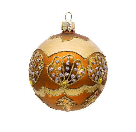 A gold christmas ball isolated on a  white background, christmas time