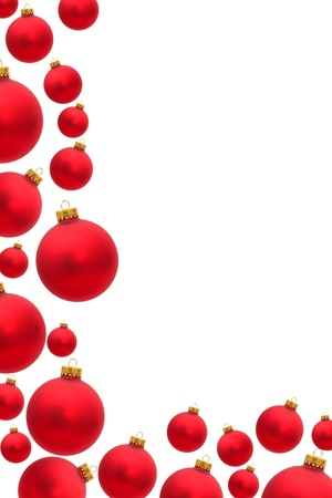 holidays: Red christmas balls making a border with white background, christmas border