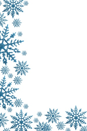 snowflake: Snowflake border with white background, winter time Stock Photo