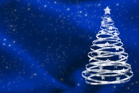 A white glitter tree on a blue background, Christmas Time photo