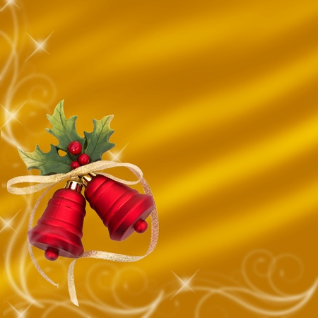 Red christmas balls on a gold background, christmas bells background