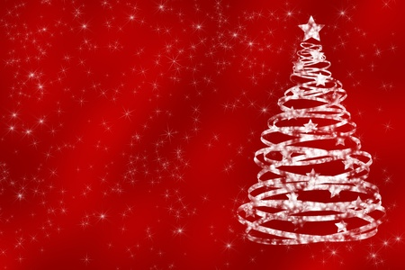 A white glitter tree on a red background, Christmas Time