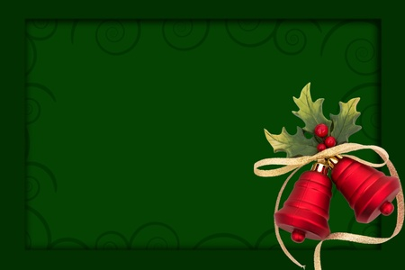 Red christmas bells on a  green background, christmas bells background Stock Photo