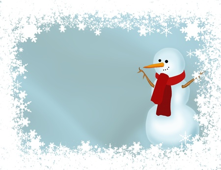 A snowman with a snowflake border and a blue background, winter time photo