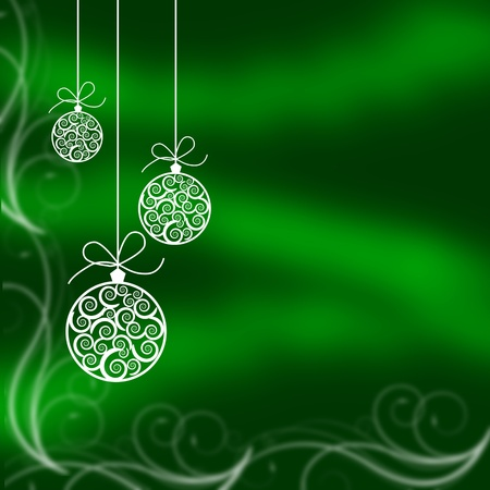 Christmas balls illustrated on a green background, christmas time photo