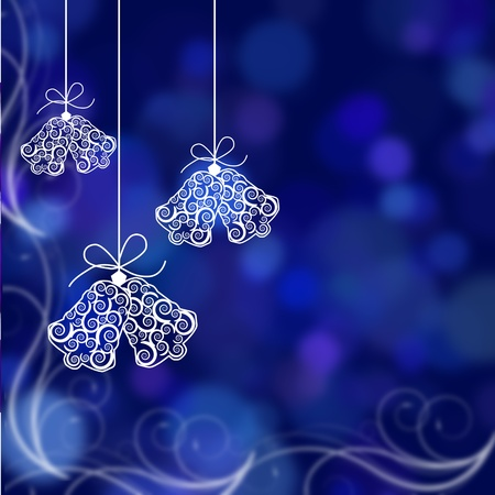 christmas bells: Christmas bells illustrated on a blue background, christmas time