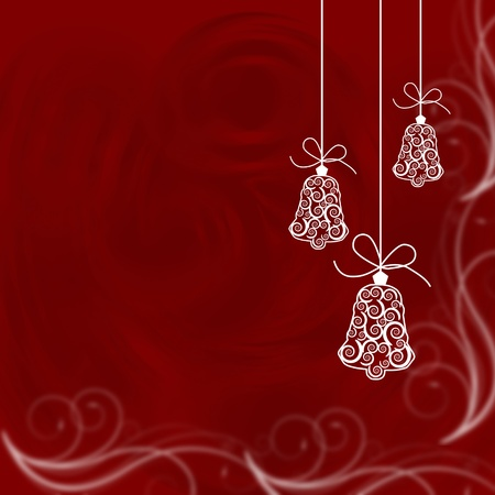Christmas bells illustrated on a red background, christmas time photo