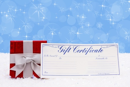 A christmas gift with a gift certificate on a snow background, Christmas Time