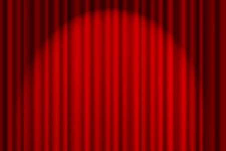 Een rode getextureerde gordijn op een podium met een spotlight