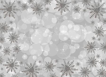 Snowflake border on a grey bubble background, snowflake border