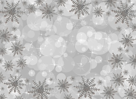 Snowflake border on a grey bubble background, snowflake border