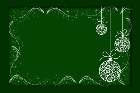 Christmas balls illustrated on a green background, christmas time