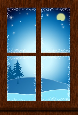A window looking out on the night sky, christmas night Stock Photo - 8434811