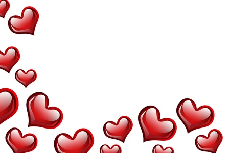 Red hearts on a white background, love background