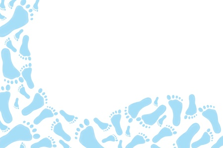 Blue footprints on a white background, baby blue footprints backgrounde Stock Photo - 8481968