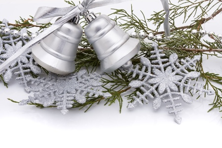 christmas bells: Silver christmas bells on a white background, Christmas Time  Stock Photo