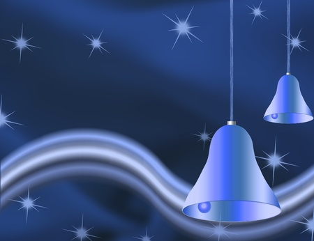 Christmas bells illustrated on a blue background, christmas time photo