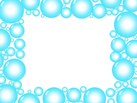 Blue bubbles on a white background, blue bubble background