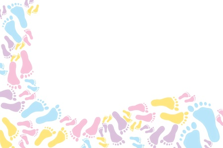 Colourful footprints on a white background,  colorful baby footprints background