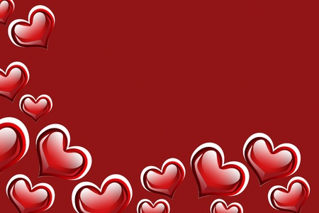 Red hearts on a red background with copy space photo