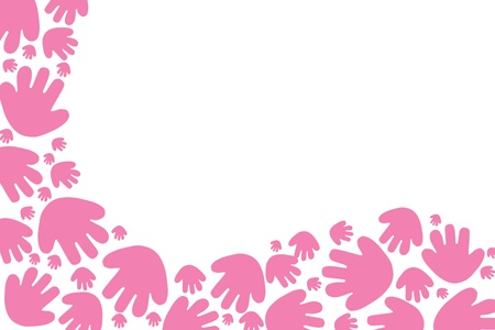 Baby pink handprints on a white background with copy space Banque d'images - 8517310