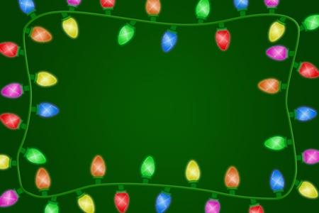 Christmas lights on a green background, christmas time photo
