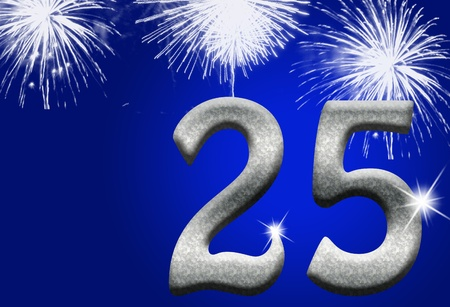 silver background: The numbers 25 in silver with fireworks on a blue background, 25th anniversary