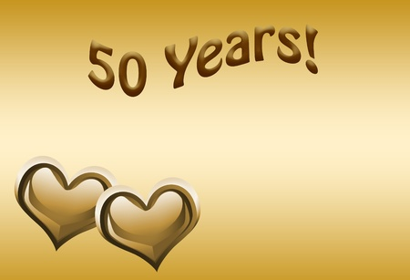 The numbers 50 in gold with hearts on a gold background, 50th anniversary