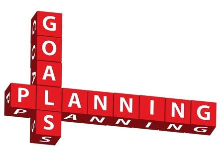 goals: Rote Bl�cke spelling Ziele und Planung auf wei�em Hintergrund, Ziele und Planung Lizenzfreie Bilder