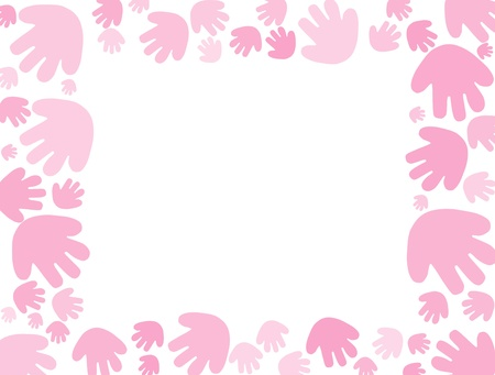 Pink handprints on a white background with copy space Banque d'images - 8525814