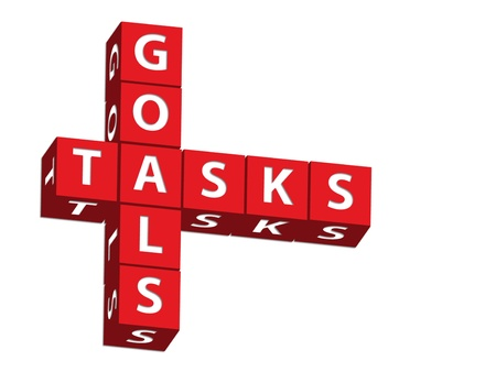 Red blocks spelling goals and tasks on a white background, goals and tasks