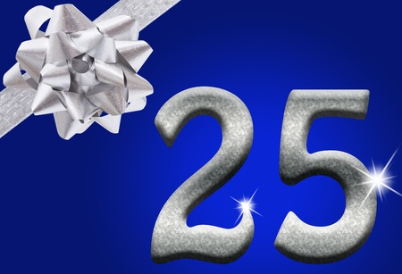 The numbers 25 in silver with ribbon and bow on a blue background, 25th anniversary photo