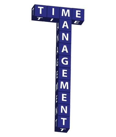 Blauwe blokken spelling timemanagement op een witte achtergrond, timemanagement Stockfoto