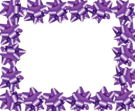 Purple ribbon bows making a border on a white background, purple ribbon border photo