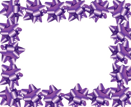 Purple ribbon bows making a border on a white background, purple ribbon border Stock Photo - 8540810
