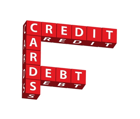 Red blocks spelling credit cards debt on a white background, credit cards Stock Photo - 8540802