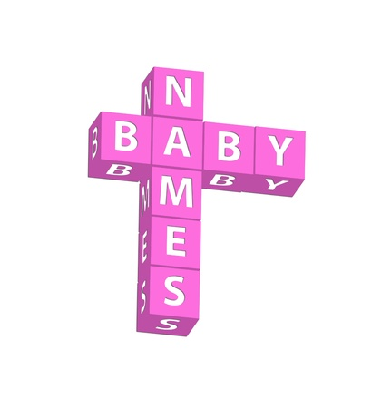names: Pink blocks spelling baby names on a white background, baby names