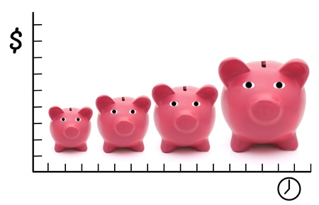 A row of pink piggy banks on a white background, Increasing costs over time photo
