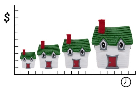 rising prices: A row of white and green houses on a white background, Rising prices of housing