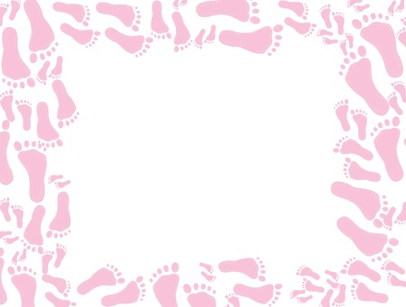 Pink footprints on a white background, baby pink footprints background