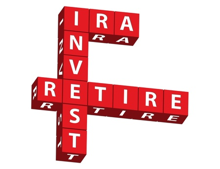 retiring: Red blocks spelling ira, invest and retire on a white background, saving for retirement Stock Photo