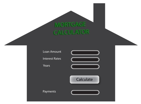 fill fill in: A grey house with fill in the blank mortgage calculator on it, mortgage calculator