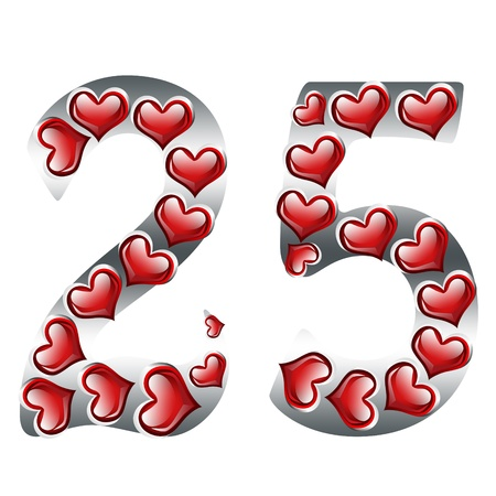 The numbers 25 in silver with with hearts on a white background,25th Anniversary