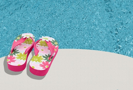 flip flops: Pink flowered flip flops by a pool background, Summer Time