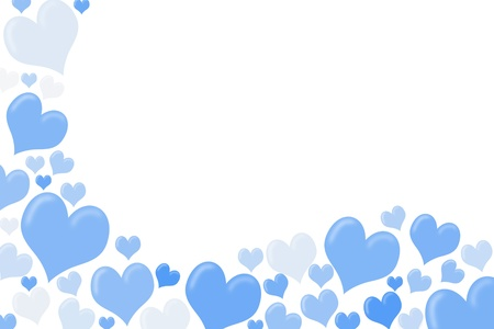 White and blue hearts making a border on a white background, heart background