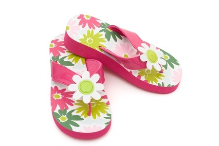flip flops: Pink flowered flip flops on a white background, Summer Clothes