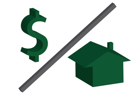 A green dollar symbol over a house on a white background, housing costs